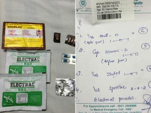 病院で貰った薬とメモ